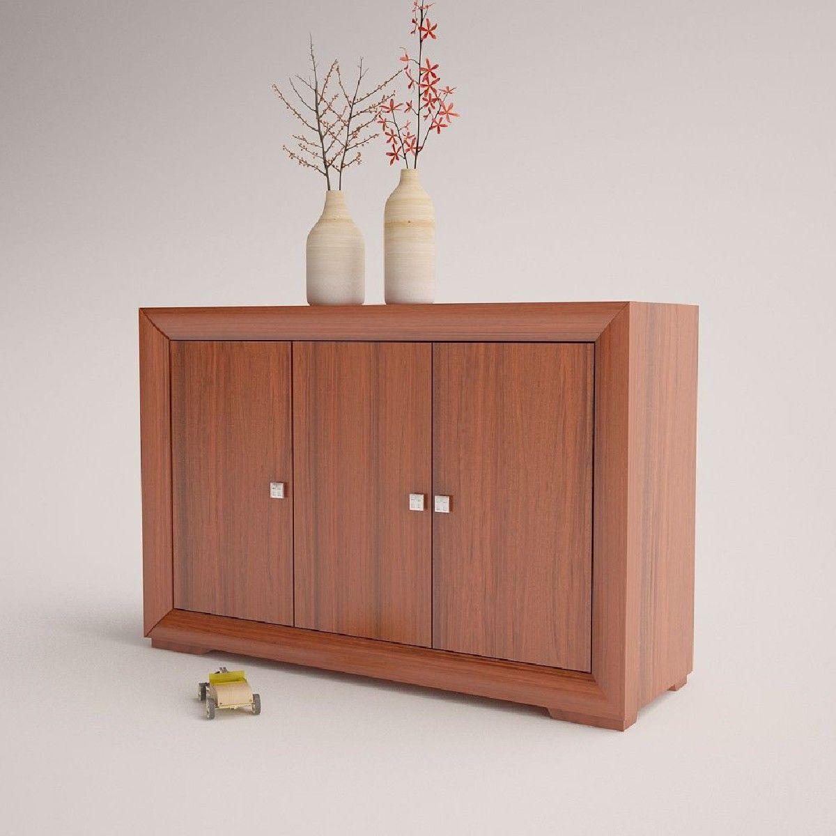 Taquillon aparador moderno de madera modelo cordoba 3 puertas tinte
