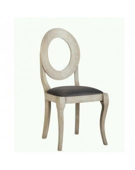 silla isabelina de madera modelo sfera asiento tapizado envejecido.