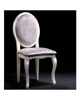 Silla isabelina de madera respaldo y asiento tapizado modelo opera.