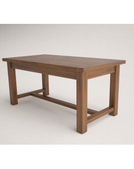 Mesa rustica modelo Buey de madera extensible con traba tinte.