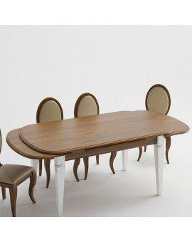 Mesa de comedor de madera pata aguja modelo petaca extensible.