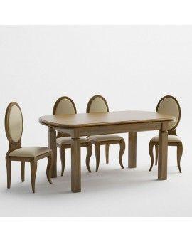Mesa de comedor de madera pata cuadrada modelo petaca extensible.