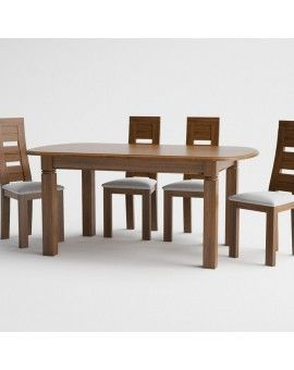 Mesa de comedor de madera pata cuadrada modelo petaca fija.