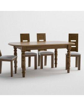 Mesa de comedor de madera pata torneada modelo petaca fija.