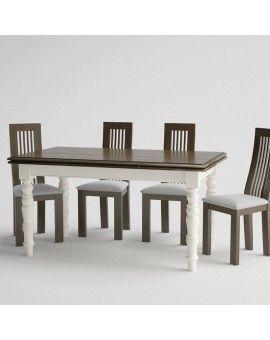 Mesa de comedor de madera extensible pata torneada rectangular.