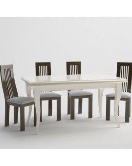 Mesa de comedor de madera extensible pata isabelina rectangular.