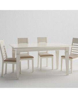 Mesa rectangular fija clasica pata aguja de madera.
