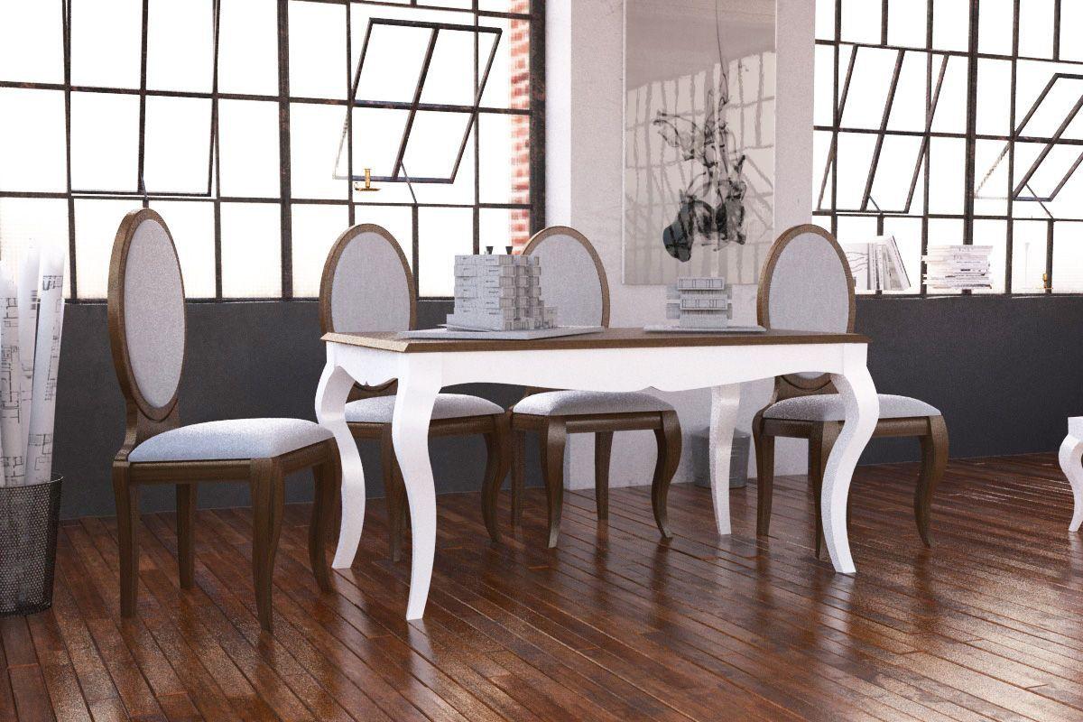 Mesa de comedor isabelina de madera modelo Vigo.