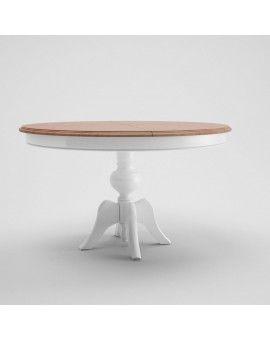 Mesa redonda de madera base piña fina