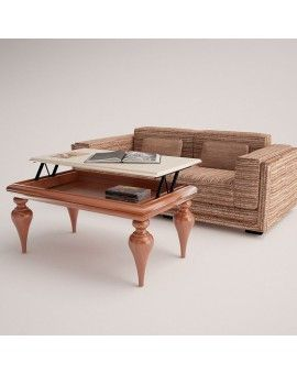 Mesa de centro clasica de madera elevable modelo Sicilia.