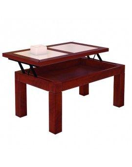 Mesa rustica de madera elevable modelo Zambra en tinte.